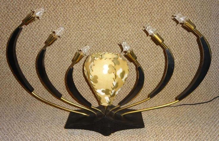 VTG 1950s Stilnovo MCM Atomic Sputnik Spider Buffet Table Lamp Fiberglass Shade