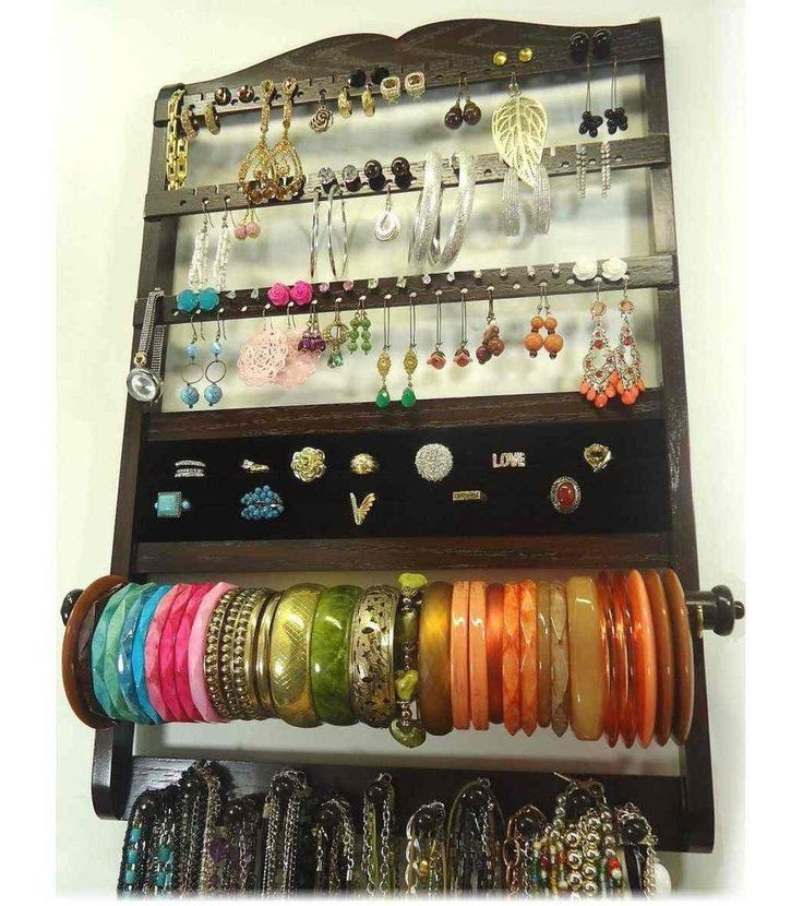 Deluxe Jewelry Holder Organizer Cocoa Brown Oak #JewelryOrganizer