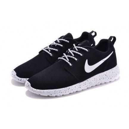 Nike Roshe Run Fur Ink Spot Black Speckled White Shoes Suede