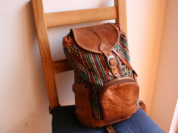 Leather backpack vintage backpack African by TaylorGirlsShop