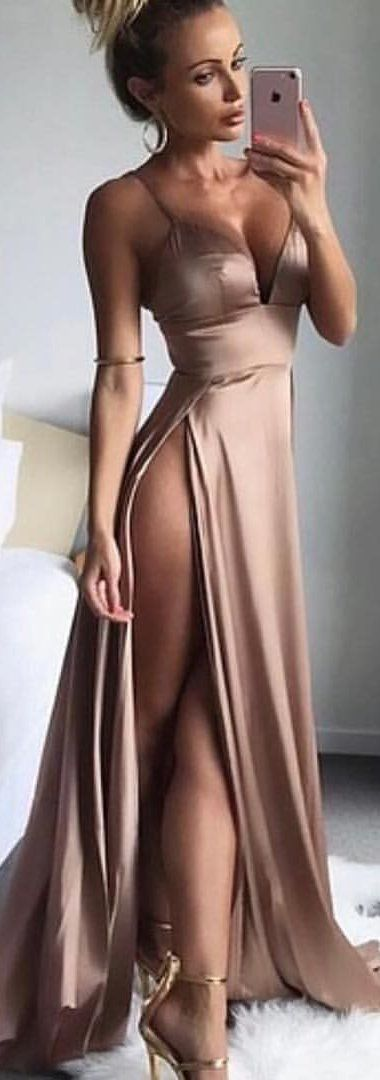 #winter #outfits brown spaghetti-strap dress with slit