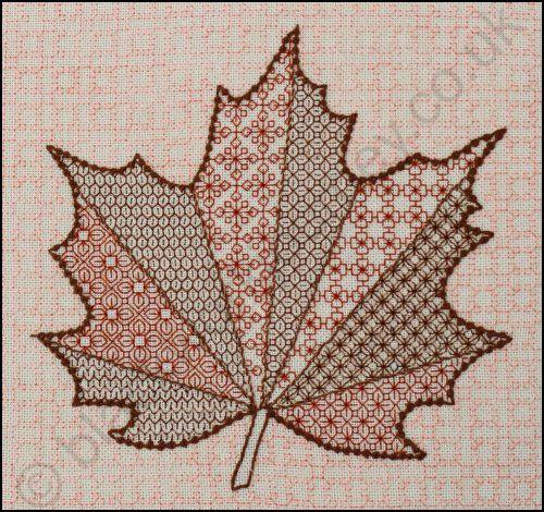 Blackstitch a fall leaf