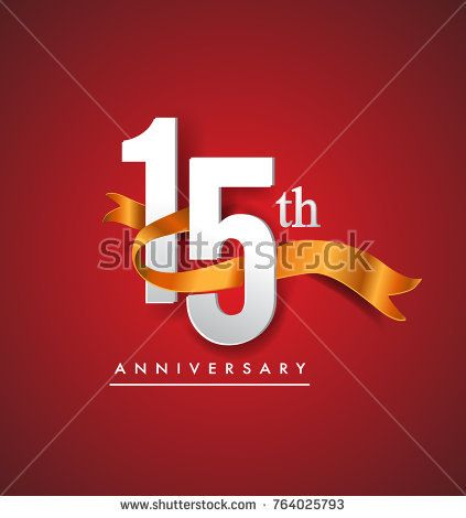 15th anniversary logotype with golden ribbon isolated on red elegance background, vector design for birthday celebration, greeting card and invitation card.