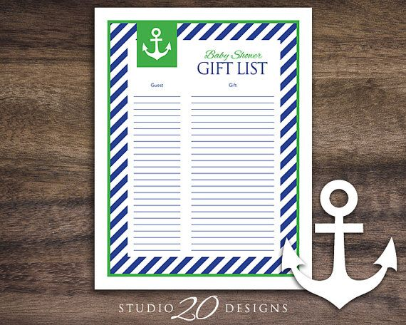 Instant Download Green Nautical Baby Shower Gift List, Printable Sailor Theme Baby Shower, Nautical Theme Baby Shower Gift Registry 26B