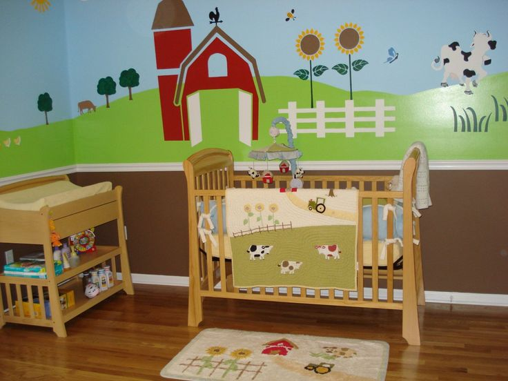 Nursery wall mural farm animal wall mural for Barnyard wall mural