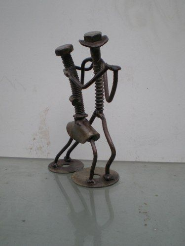 Escultura Bailarines En Hierro Reciclado - $ 280,00
