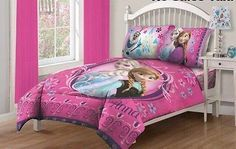 Disney Frozen Twin Bedding Set Comfort Anna Elsa Warm Bedroom Pink Girls Gift