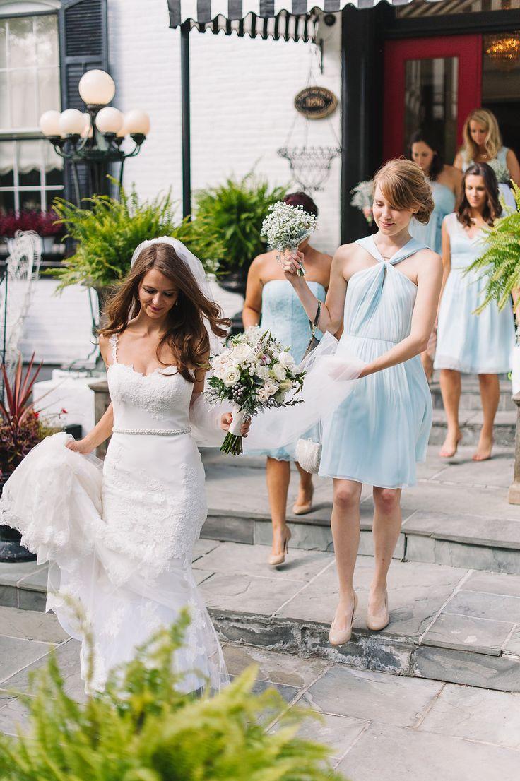 Enzoani modeca olva wedding dress bridesmaids in blue for Anne taylor wedding dress