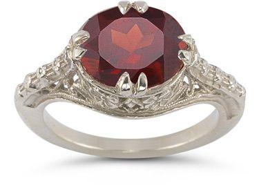 Vintage Rose Garnet Ring in 14K White Gold