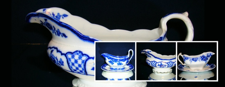 Gravy boats, some with attached under trays c.1900