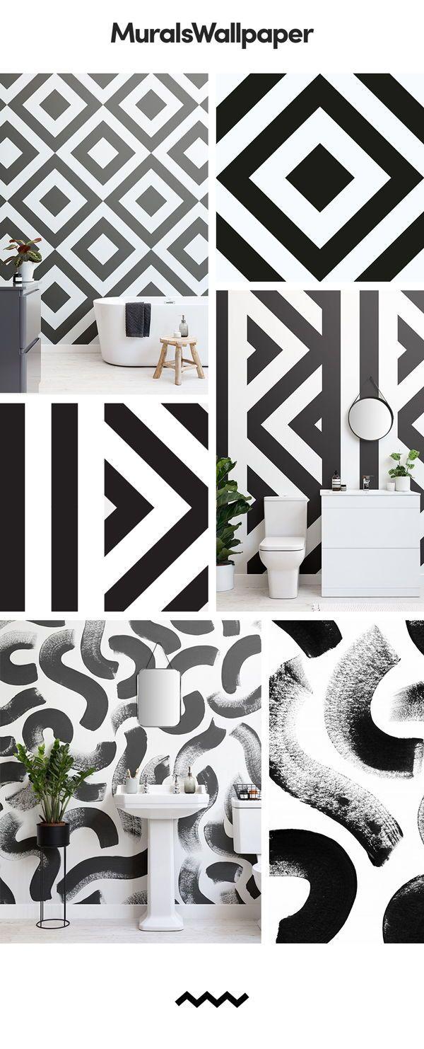 Schwarz Weiß Bad Tapete Schafft Einen Raum Den Charakter Hat Noch Bleibt Anspruchsvoll Und Elegant In White Wallpaper Colour Schemes Black And White Wallpaper