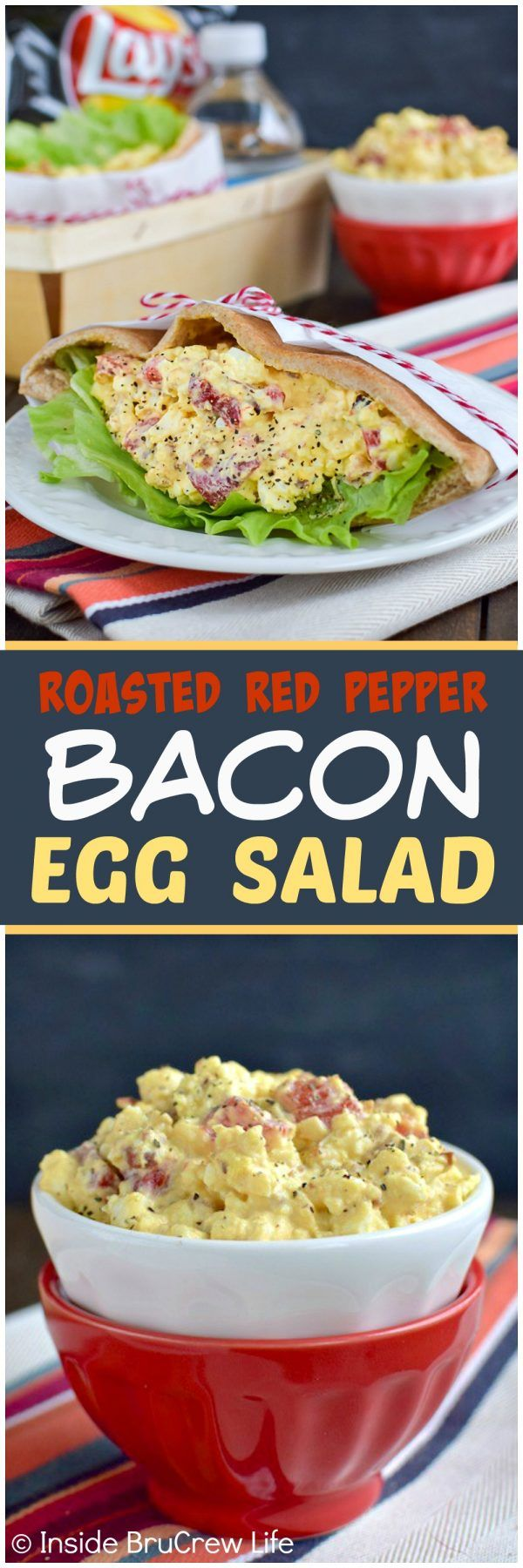Roasted Red Pepper and Bacon Egg Salad - peppers and bacon add a fun twist to this traditional egg salad. Great recipe to use up those hard boiled eggs!