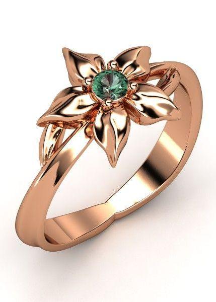 14K Rose Gold Alexandrite | Star Flower Ring ♥