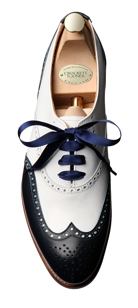 Jenny Navy & White Calf, Ladies Brogue | Crockett & Jones
