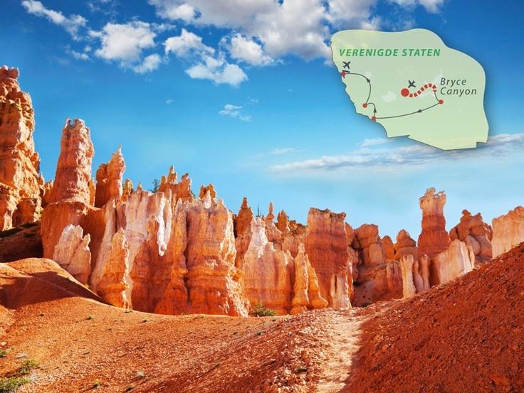 Uitgelicht: De fly drive Amerika - Western Wonders Dag 3: Zion Nationaal Park - Bryce Canyon Nationaal Park. Tijd voor één van Utah's mooiste Nationale Parken, Bryce Canyon Nationaal Park, de grillige gele en feloranje rotsformaties van de Bryce Canyon in de meest wonderbaarlijke vormen zal iederen verbazen. Ook komt je langs het Zion Nationaal Park met een rijk gevarieerde flora en fauna  goedkope vakantie http://www.reispot.nl