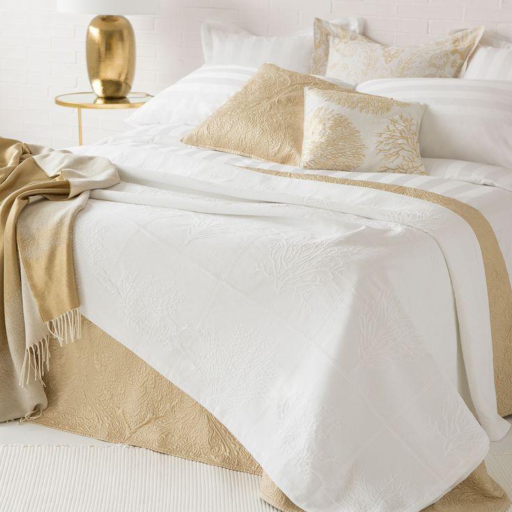 Couvre-lit et housse de coussin coton jacquard corail