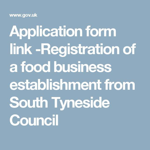 Application form link -Registration of a food business - business application form