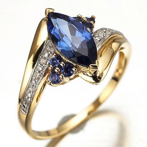 Купить товар Оптовая продажа мода дамы обручальные кольца золото палец кольцо для женщин синий сапфир ювелирные изделия бесплатная доставка в категории Кольца на AliExpress. 2016 новых прибытия Посмотреть подробнее>>