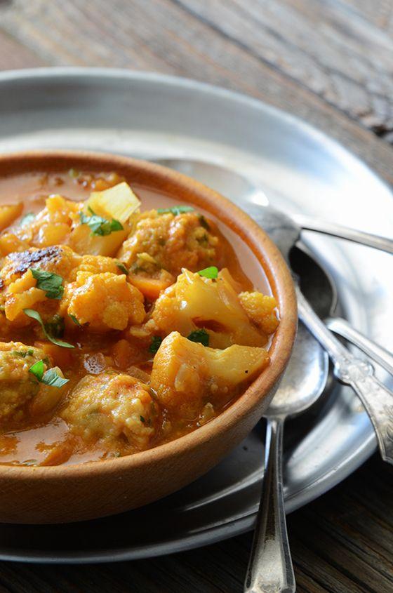 Smoky Roasted Cauliflower Soup with Herbed Garbanzo Bean Dumplings