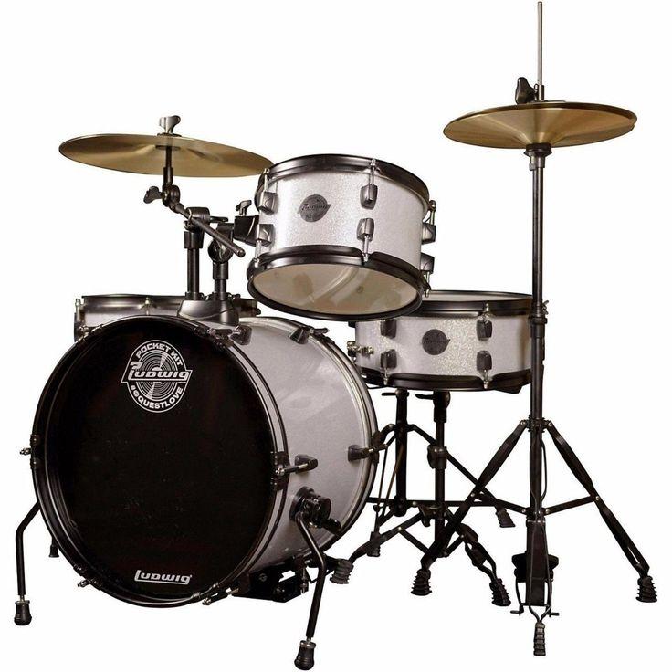 Ludwig LC178X029 Questlove Pocket Kit 4-Piece Drum Set for Kids Silver Sparkle