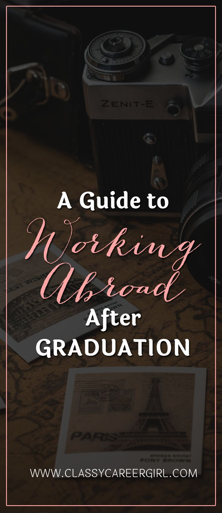 A Guide to Working Abroad After Graduation  Most people will be telling you to dive headfirst into the workforce by looking for a local job in your field, but why not expand your sights a little bit further? What about opening up your job search to include the entire world and embarking on an adventure working overseas?  Read More: http://www.classycareergirl.com/2012/09/a-guide-to-working-abroad-after-graduation/