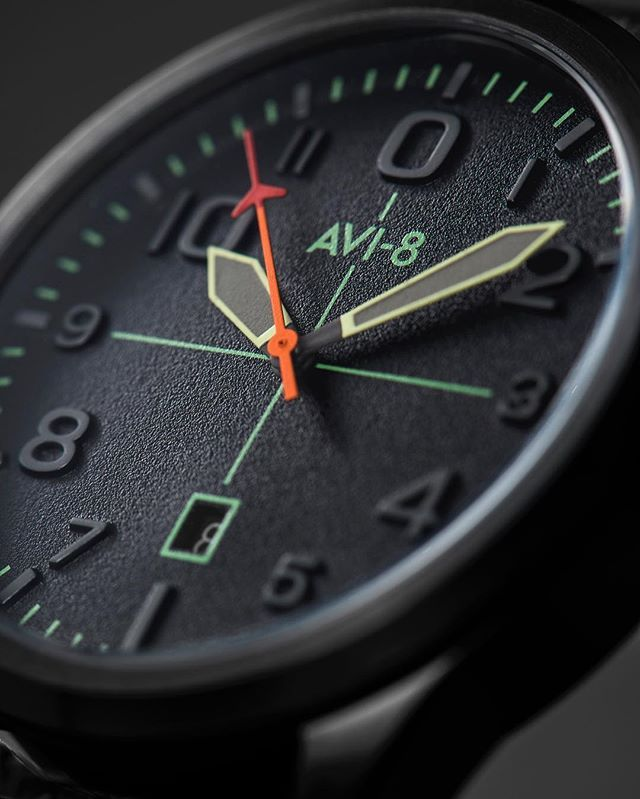 Up Close with the Flyboy AV-4028 - Military colors and influence in shape give credence and strength to this line of watches designed with panache and flair. Available for Purchase on Avi-8.co.uk #avi8 #wotd #flyboy #watch #watchgeek #flieger #uhren #orologio