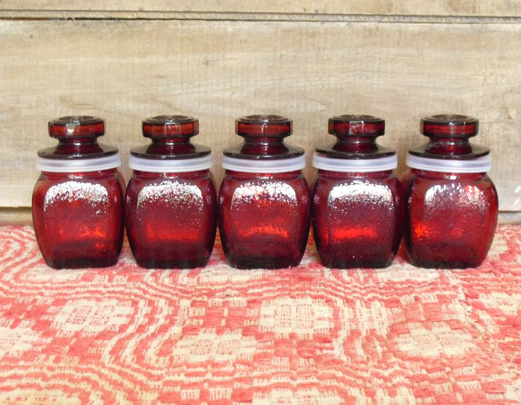 Sold.  Wheaton Red Glass Apothecary Jars, Kitchen Biscuit Jars, Storage Jars for Spice, Salt, Pepper, Kitchen Storage Container, Vintage Glass Jars by AgsVintageCove on Etsy