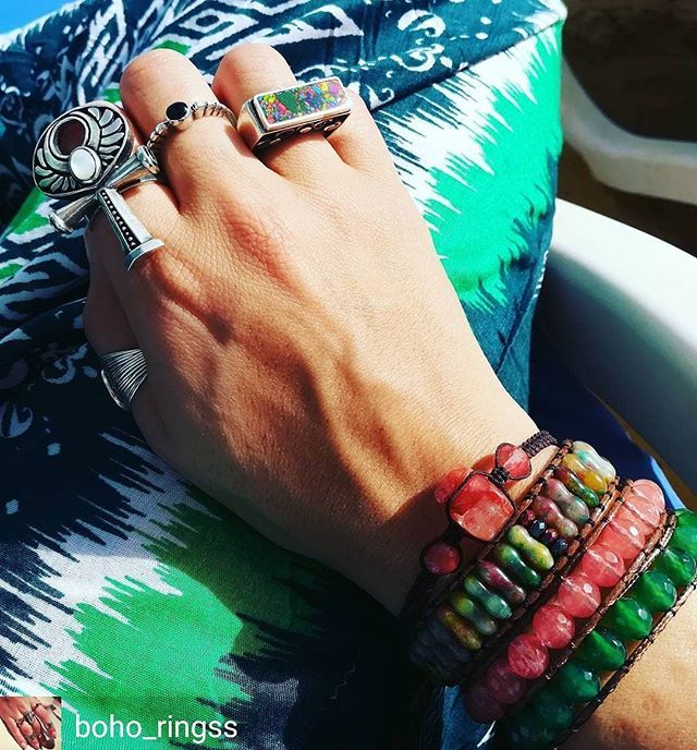 Regrann from @boho_ringss -  Hello from the beach!  Enjoying the sun sea and great friends!  . #beadedjewelryofinstagam #accessories #rings #silver #bracelets #bohochic #bohostyle #fashion #bohemianring #chunkyjewelry #jewelry #instablogger #travel #cairo #instafashion #beadedbracelets #beadedjewelry #vacation #beach #redsea #green #keyoflife  #stones #colors #style #jewelryblogger  #silverjewelry #boholifestyle #harempants  #twitter