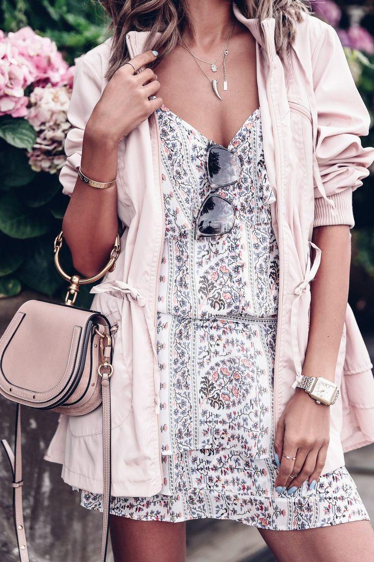 Floral print dress + pink parka