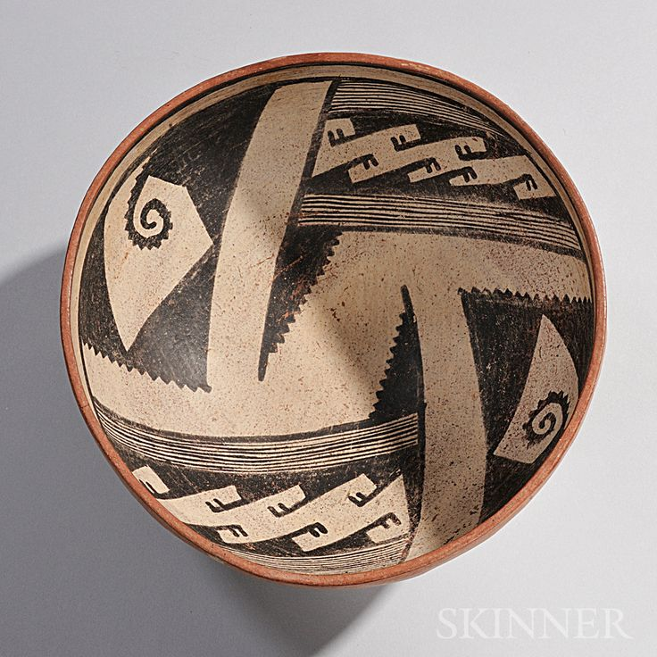 Gila Geometric Polychrome Pottery Bowl. 1200-1400.