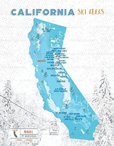 California Ski Resorts Map, 18x24 Inches, Print, Personalized, CA State Print, Powder Blue