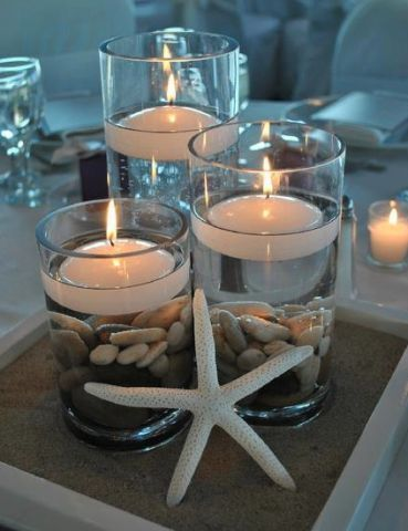 """Make a quick and easy centerpiece that will """"wow"""" your guests. This pin includes all of the products used to create this project! Would be great for a nautical or beach themed baby shower, bridal shower or wedding!"""