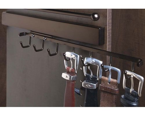 Deluxe Sliding Belt Rack - Oil Rubbed Bronze is a slide out belt rack that provides storage for 7 belts in a 14 inch profile.