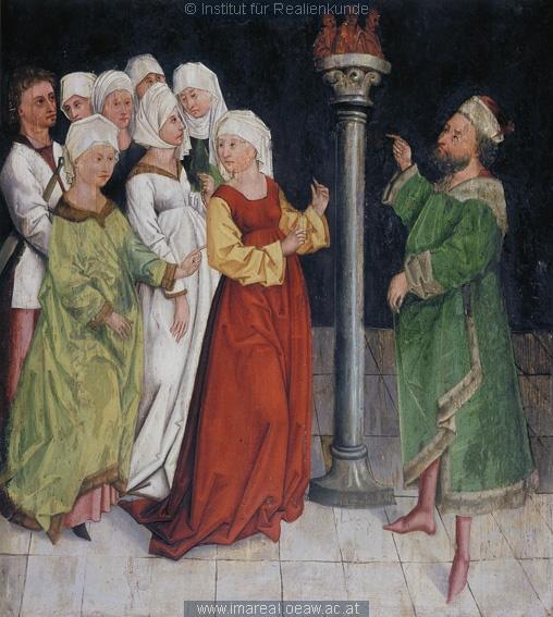 Die sieben Frauen werden zum Götzendienst gezwungen Dieses Bild: 016296 1480 ; 1490 ; Kaufbeuren ; Deutschland ; Schwaben ; Filialkirche St. Blasius