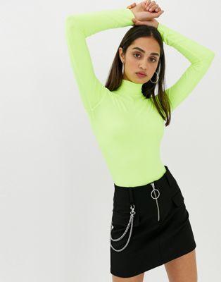 7b31ef2f Bershka high neck body in neon yellow in 2019 | Fashion | Neon ...