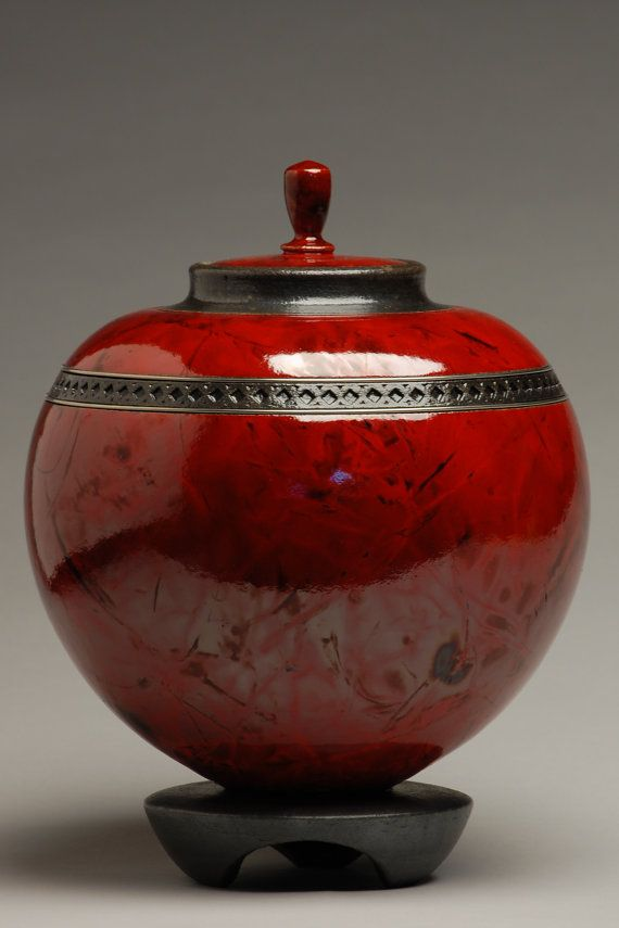 Orb Red Raku Urn by ElementalUrns on Etsy, $399.00
