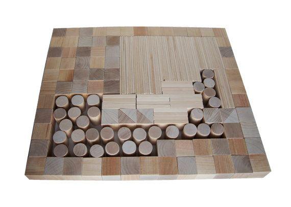 Kids wooden toys Natural Wooden Blocks 150 details от AndrGreen