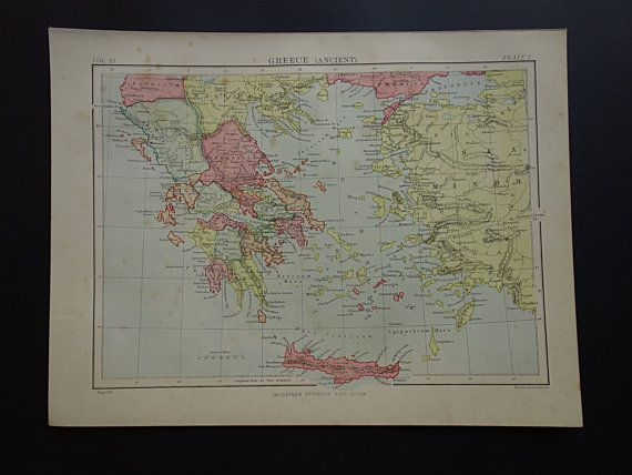 Greece antique map  1880 original antique by DecorativePrints