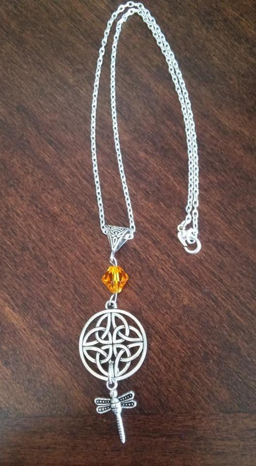 Outlander Celtic Knot Dragonfly Amber Inspired Scottish Irish Necklace Gift UK