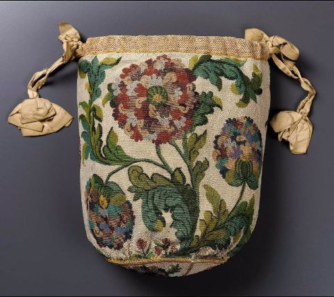 """""""Round drawstring bag with dome-shaped base French ca. 1725-1750"""""""