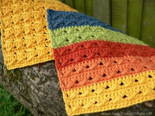 Tropical Pineapple Squares Crochet Blanket | AllFreeCrochetAfghanPatterns.com