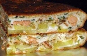 Рыбный заливной пирог с картошкой