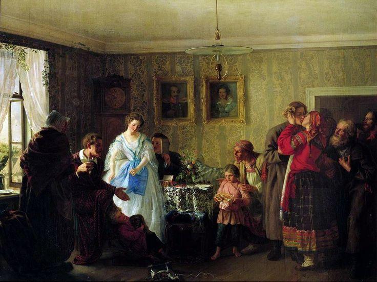Григорий Григорьевич Мясоедов. «Поздравление молодых в доме помещика». 1861