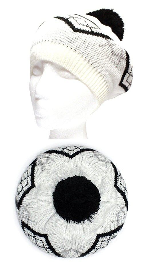 d145efe44928e City Hunter Ck1100 Baret Pattern Pom Pom Hat - White