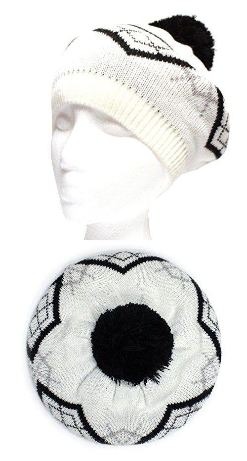 City Hunter Ck1100 Baret Pattern Pom Pom Hat - White  8624f3c31736