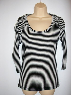 NEW Tokito Ladies Black & White Striped Fine Wool Top Size L / 12-14