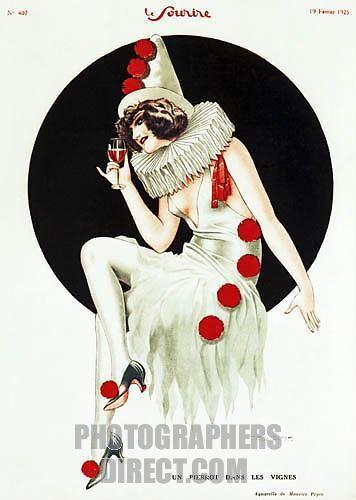 1920.s illustration, Pierrot inspired
