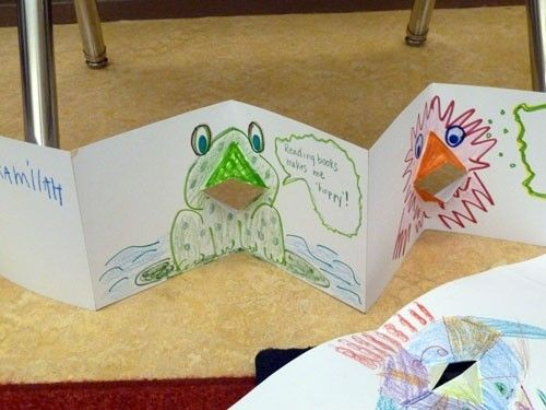 The Face Book is a simple pop-up—simple enough for kids from 1st grade on up—that serves well as a get-acquainted project at the start of the year. Each folded page has a simple pop-up that forms a mouth, and when kids open and close the page, the mouth appears to talk.