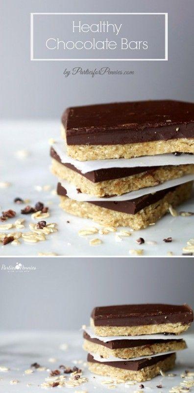 No Bake Healthy Chocolate Protein Bars. Gluten Free Recipe!