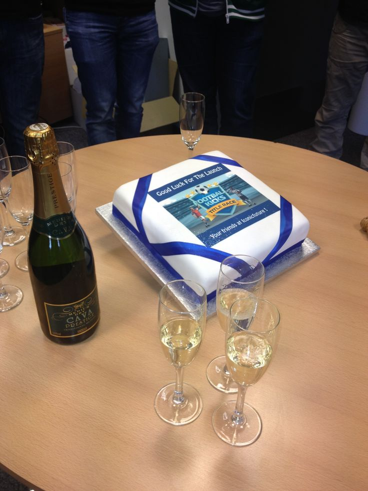 Celebratory football cake and fizz! What could be better?